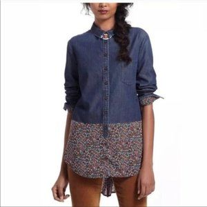 Anthro Postmark Ditsy Floral Chambray Hi-Low Shirt